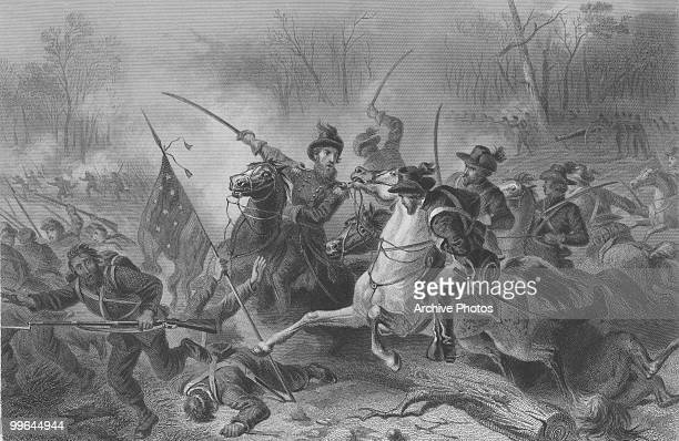 An engraving of General Ulysses Simpson Grant during the battle of Shiloh also known as the battle of Pittsburg landing in Tennessee during the US...