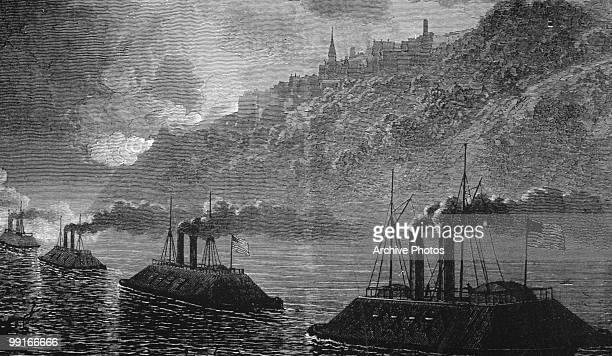 An engraving of gunboats passing through Vicksburg Mississippi during the battle of Vicksburg US civil war circa 1863