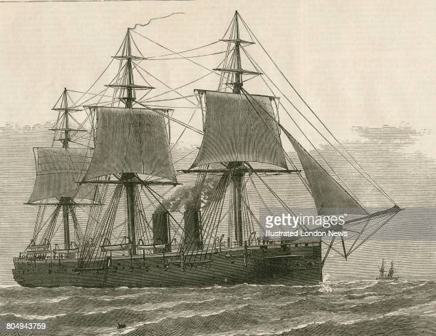 An engraving of HMS Euryalus a Bacchanteclass corvette of the Royal Navy designed by Nathaniel Barnaby at sea following her launch on 31 January 1877...