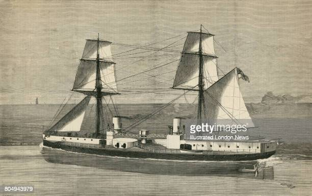An engraving of HMS Inflexible an ironclad battleship of the Royal Navy carrying her main armament of four RML 16inch 80ton rifled muzzleloading guns...