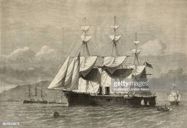An engraving of HMS Sultan a steampropelled broadside ironclad of the Royal Navy following her launch on 31 May 1870 at Chatham Dockyard on the River...