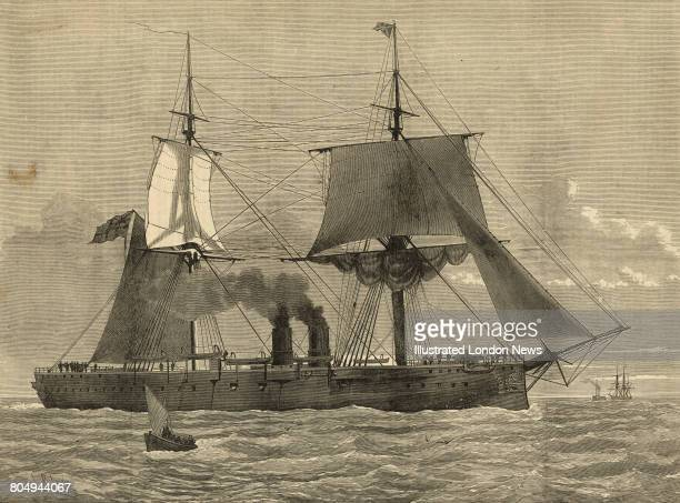 An engraving of HMS Temeraire the first ironclad battleship of the Royal Navy to be equipped with 11inch calibre muzzleloading guns in barbettes...