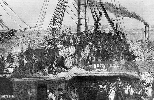 An Engraving of Immigrants Aboard a Ship circa 1850