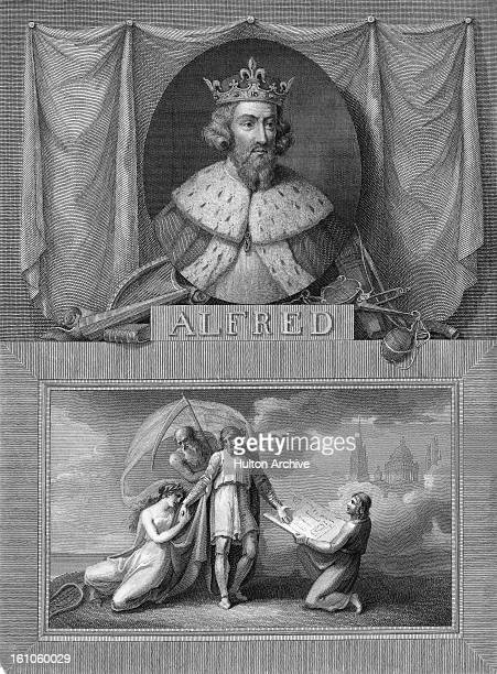 An engraving of King Alfred the Great of Wessex from an imagined portrait by Raineri circa 1835