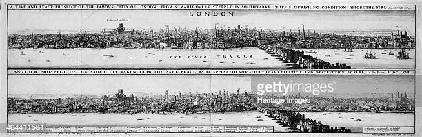 An engraving of London before and after the Great Fire of 1666 . Showing the growth of the city on the edge on the River Thames, and the buildings on...