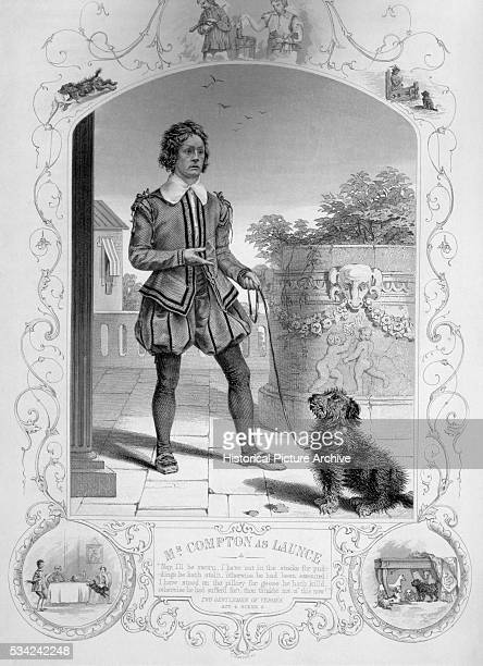 An engraving of Mr Compton as Launce in Shakespeare's Two Gentlemen of Verona