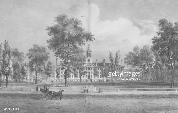 An engraving of Nassau Hall and its surroundings at Princeton University, Princeton, New Jersey, 1837. From the New York Public Library. .