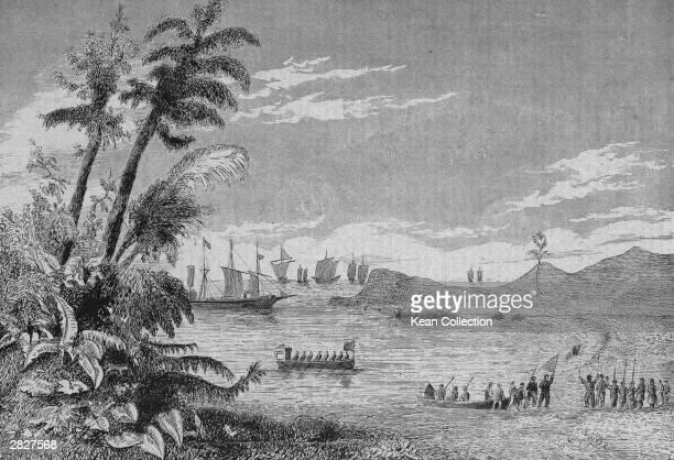 An engraving of Portuguese navigator and explorer Pedro Alvares Cabral landing at Terra da Vera Cruz Brazil and coming ashore to claim it for...