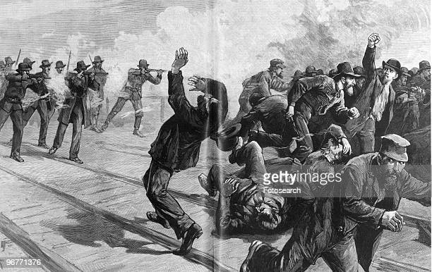 An Engraving of Soldiers Firing upon Strikers during Pullman Strike at East St Louis in Illinois circa 1894