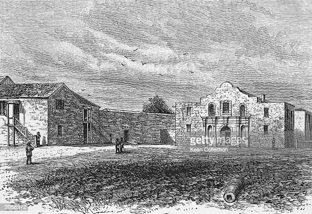 An engraving of the Alamo a Franciscan mission in San Antonio Texas that was the scene of a seige during the Texan war for independence in 1836 About...