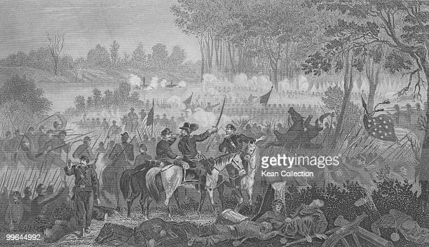 An engraving of the battle of Shiloh also known as the battle of Pittsburg landing in Tennessee during the US civil war on 7 April 1862