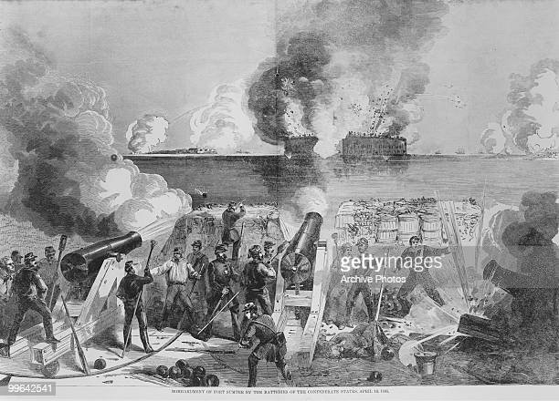 An engraving of the bombardment of Fort Sumter by the Batteries of the Confederate States 13 April 1861