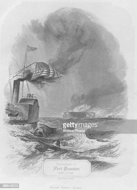 An engraving of the Bombardment of Fort Sumter during the US civil war 13 April 1861 by Samuel Walker