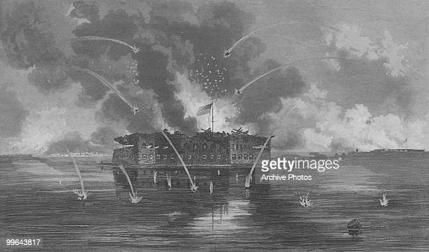 An engraving of the bombardment of Fort Sumter during the US civil war 13 April 1861
