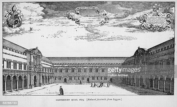 An engraving of the Canterbury Quad at the college of St John the Baptist at Oxford University by Loggan 1675