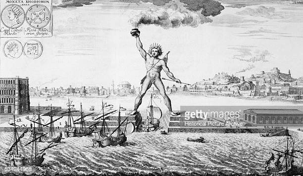 An engraving of the Colossus of Rhodes on of the Seven Wonders of the ancient world