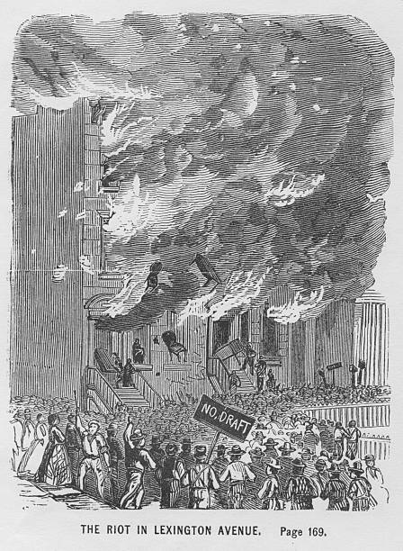 An engraving of the draft riots on Lexington Avenue,...