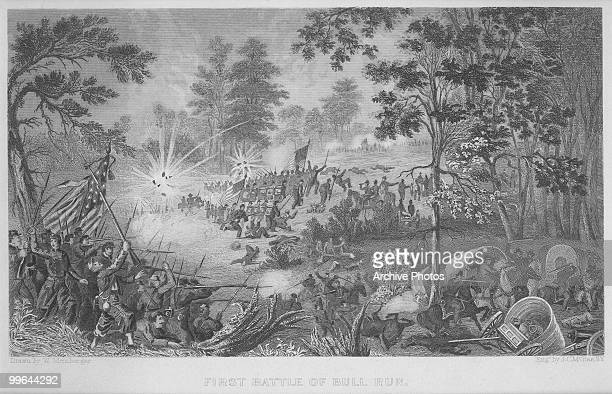 An engraving of the first battle of Bull Run in Manassas Virginia 21 July 1861