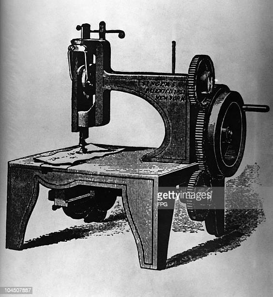 An engraving of the first Singer sewing machine circa 1851
