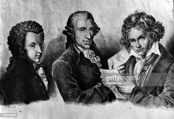 An engraving of the illustrious musical trio LR Wolfgang Amadeus Mozart of Austria Joseph Haydn of Austria and Ludwig van Beethoven of Germany