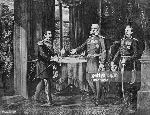 An engraving of the meeting between Kaiser Wilhelm I and Napoleon III at the Chateau de Bellevue to discuss an armistice following the fall of Sedan...