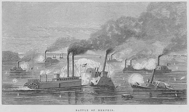 An engraving of the naval battle of Memphis fought...