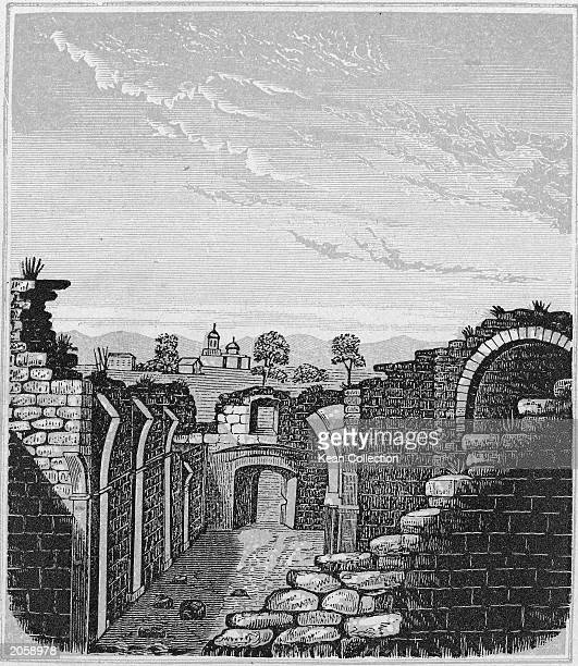 An engraving of the ruins of the Alamo a Franciscan mission in San Antonio Texas that was the scene of a seige during the Texan war for independence...