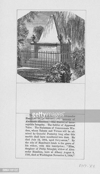 An engraving of the tomb of Alexander Hamilton the marble tomb is surrounded by a fence and trees text below the image of the tomb records the...