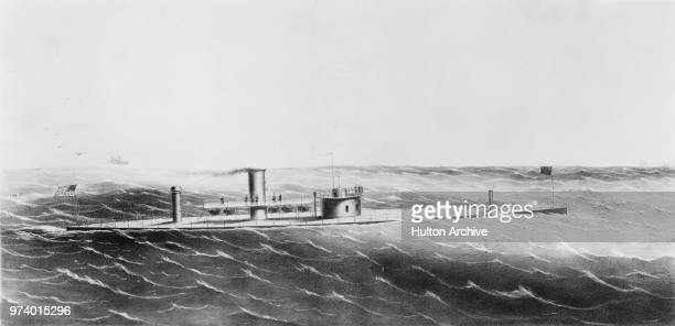An engraving of the USS Dictator a singleturreted ironclad monitor of the United States Navy whilst assigned to the North Atlantic Blockading...