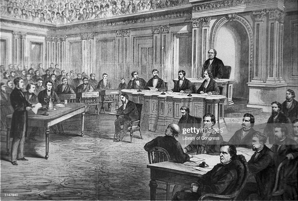 An engraving showing the impeachment trial of President Andrew Johnson in the Senate March 13, 1868. The House approved 11 articles of impeachment against Andrew Johnson in 1868, arising essentially from political divisions over Reconstruction following the Civil War. After a 74-day Senate trial, the Senate acquitted Johnson on three of the articles by a one-vote margin each and decided not to vote on the remaining articles.