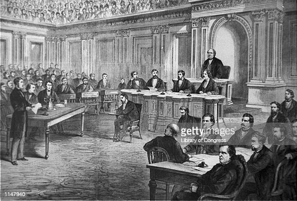 An engraving showing the impeachment trial of President Andrew Johnson in the Senate March 13, 1868. The House approved 11 articles of impeachment...