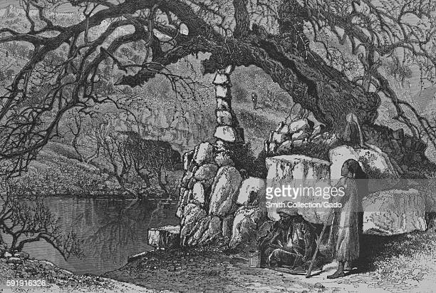 An engraving that depicts the lower Pool of Siloam the mulberrytree that is shown supported by stones is the supposed location where the Prophet...