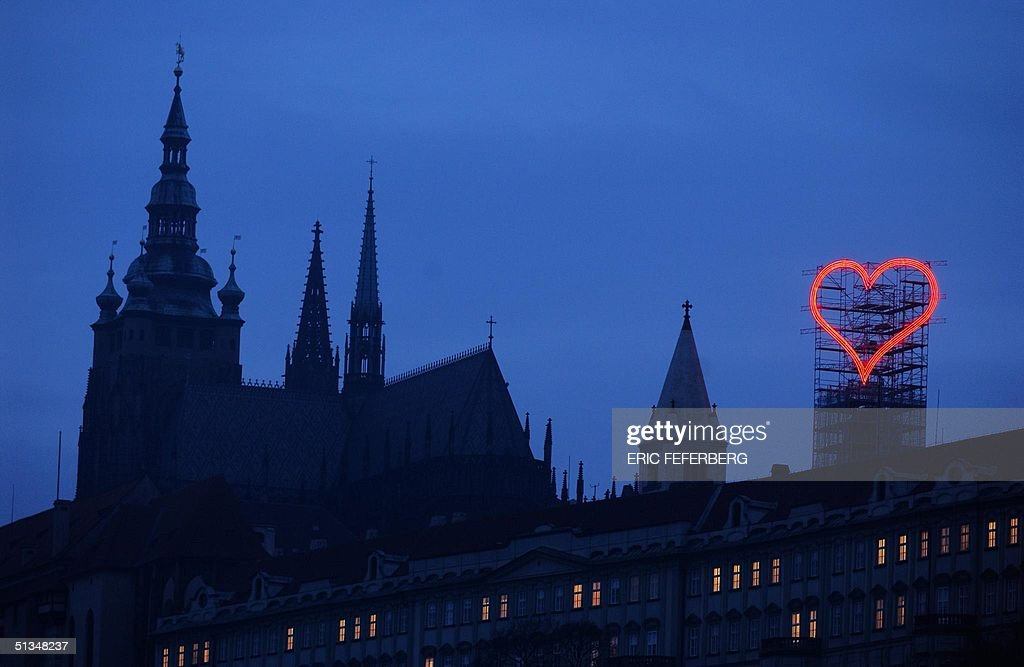 An Enormous Red Heart Dominates The Hradcany Castl Pictures Getty