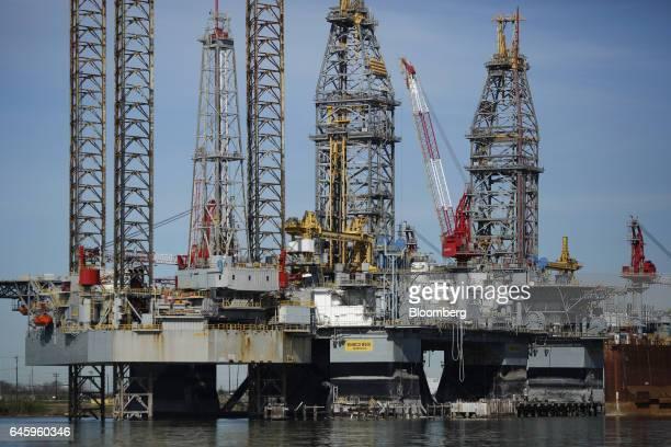 An Ensco Plc oil drilling platform stands at the Port of Galveston in Galveston, Texas, U.S., on Thursday, Feb. 16, 2017. The U.S. Census Bureau is...