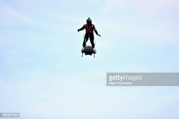 An entertainer with a jet pack performs before the Formula One Grand Prix of France at Circuit Paul Ricard on June 24, 2018 in Le Castellet, France.