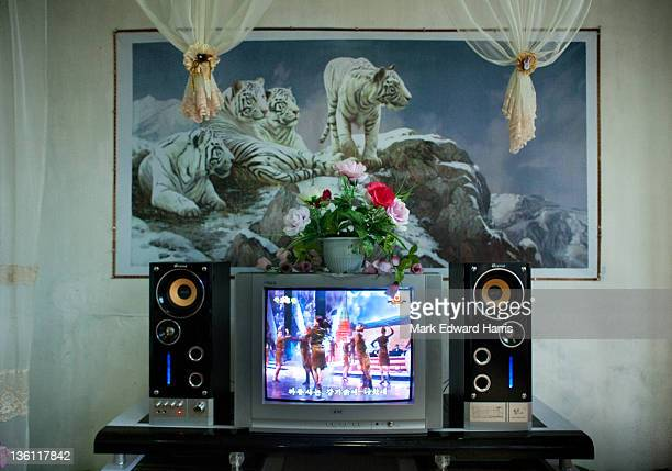 An entertainment center at a restaurant with a tape of Russian dancers being shown with Korean subtitles on July 3 2011 in Rajin North Korea