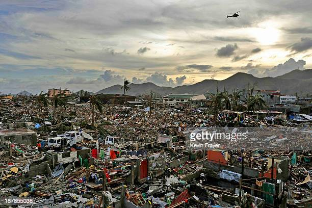 An entire neighbourhood is destroyed in the aftermath of Typhoon Haiyan on November 13, 2013 in Tacloban, Leyte, Philippines. Typhoon Haiyan, packing...