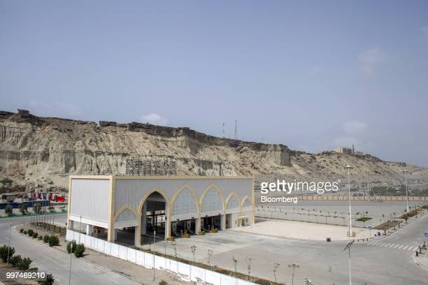 An entrance gate to the Gwadar Free Zone operated by China Overseas Ports Holding Co stands in Gwadar Balochistan Pakistan on Tuesday July 4 2018...