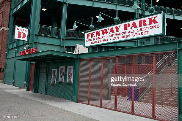 An entrance into Fenway Park is closed after the game between the Kansas City Royals and Boston Red Sox was canceled on April 19 2013 in Boston...