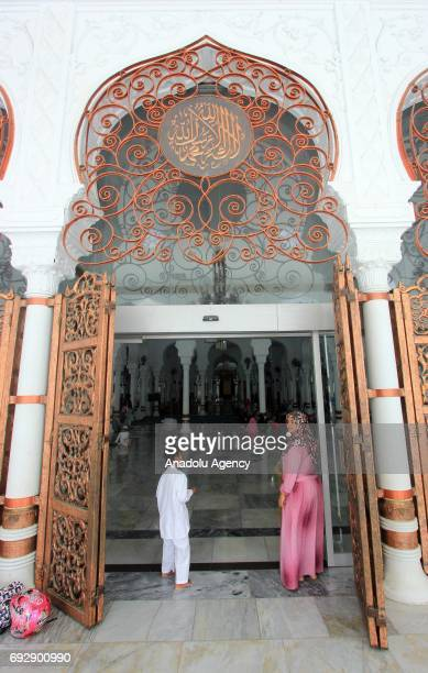 An entrance of the Baiturrahman Grand Mosque which was built in 1612 during the reign of Aceh Sultan Iskandar Muda is seen in Aceh Indonesia on June...