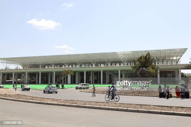An entrance of the newly opened terminal during the inauguration ceremony of the Addis Ababa Bole International Airport's new terminal in Addis Ababa...
