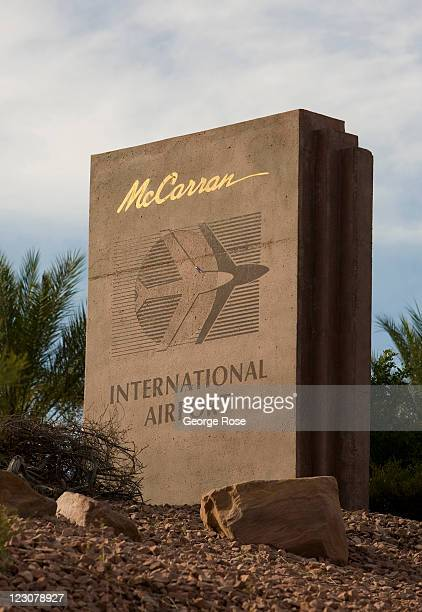 An entrance sign greets visitors entering McCarran International Airport on August 12 in Las Vegas Nevada With tourism slowly returning and nearly...