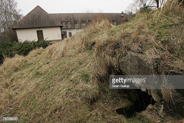 An entrance to a bunker is visible next to the former Waldhof am Bogensee the former weekend house of Nazi propaganda minister and close Adolf Hitler...