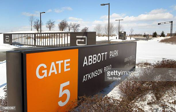 An entrance to Abbott Laboratories' headquarters is seen February 10 2004 in Abbott Park Illinois Abbott Laboratories has announced that it has...