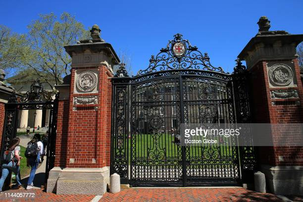 An entrance to Brown University in Providence, RI is pictured on April 25, 2019.
