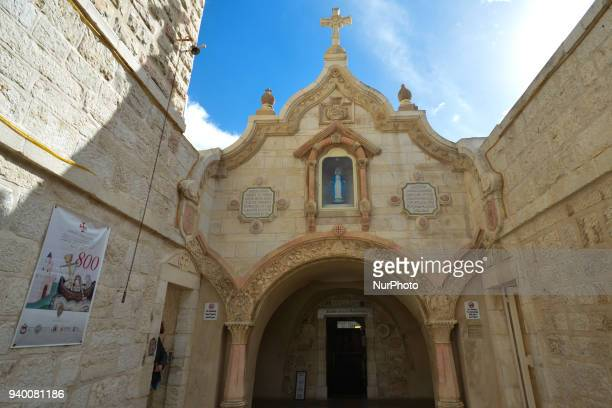 An entrance to Chapel of the Milk Grotto in Bethlehem where the Holy Family found refuge during the quotslaughter of the innocentsquot before they...