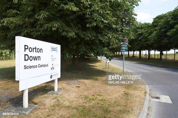 An entrance to Porton Down, the science park housing the Ministry of Defence's Defence Science and Technology Laboratory, is pictured in the village...