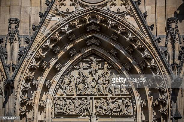 An entrance to St Vitus Cathedral is seen on May 9 2016 in Prague Czech Republic Ruler Charles IV began the construction of St Vitus Cathedral in...