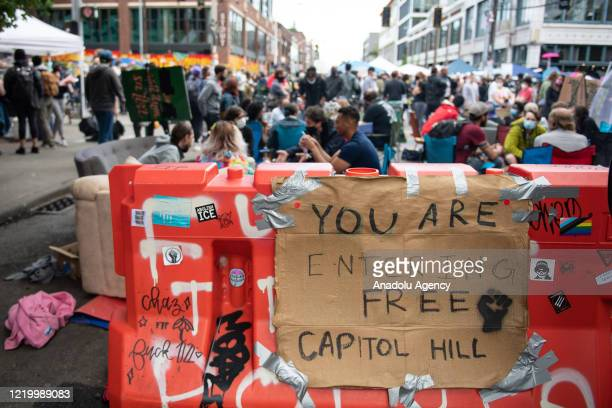 An entrance to the âCapitol Hill Organized Protestâ formerly known as the âCapitol Hill Autonomous Zoneâ in Seattle Washington on June 14 2020 The...