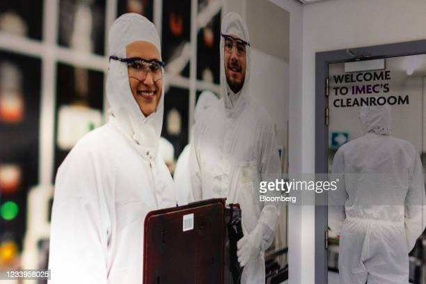 An entrance to the semiconductor manufacturing cleanroom at the Interuniversity Microelectronics Centre in Leuven, Belgium, on Wednesday, July 7,...